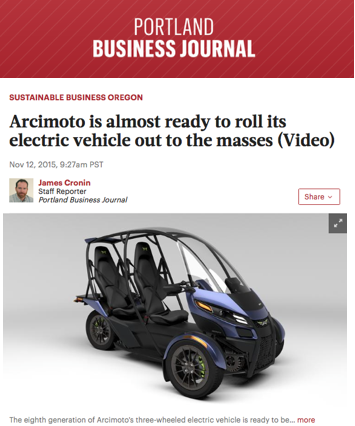 Portland Business Journal Features Arcimoto