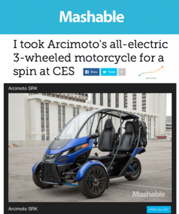 Mashable Covers Arcimoto